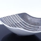 MARI SIMMULSON FOR URSULA EKEBY, a cut side bowl with incised web decoration, makers marks to