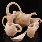 GORDON COOKE (b 1949) studio pottery porcelain tea set, hand built altered forms, impressed makers