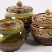 SIDNEY & CHARLES TUSTIN FOR WINCHCOMBE POTTERY, 3 studio pottery slipware jam pots, maker and