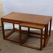 AKSEL KJERSGAARD FOR ODDER, DENMARK, 1960s' nest of 3 coffee teak tables, H48cm x D48cm x L96cm.