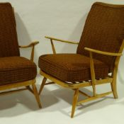 ERCOL, a pair of mid-century Windsor armchairs, web seat and back, with original fabric, H 92cm x