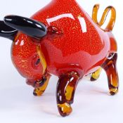MURANO, ITALY, Bull sculpture with gold leaf detail, length 50cm. Good condition.