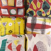 """LUCIENNE DAY, 6 contemporary cushions in mid-century fabrics including Lucienne Day's """"kite strings"""