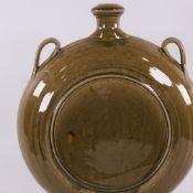 CLIVE DAVIES, BRITISH, 1980s' large studio pottery ash glazed moon flask, impressed makers mark,