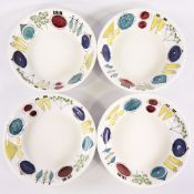 """MARIANNE WESTMAN FOR RORSTRAND, SWEDEN, four """"Picknick"""" pattern creamware bowls, designed 1956,"""