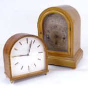 An early 20th century walnut-cased 8-day dome-top mantel clock, movement chiming on 5 gongs, case