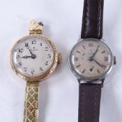 2 lady's Vintage mechanical wristwatches, comprising 9ct gold Rolex and stainless steel Tudor,