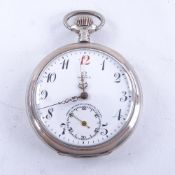 OMEGA - a Continental silver-cased open-face top-wind pocket watch, white enamel dial with eccentric