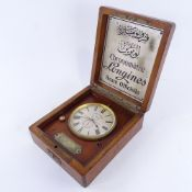 LONGINES - a rare ship's deck marine chronometer, circa 1910, silvered dial with black Roman