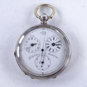 A 19th century Swiss silver-cased open-face key-wind dual time zone pocket watch, circa 1880,