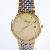 OMEGA - a Vintage gold plated stainless steel De Ville quartz wristwatch, ref. 396 1012, gilt ribbed
