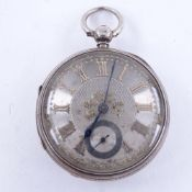 A 19th century silver-cased open-face key-wind pocket watch, by Adam Burdess of Coventry, silver