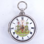 An early 19th century silver pair-cased open-face key-wind Verge pocket watch, white enamel dial