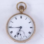 An early 20th century 9ct rose gold open-face top-wind pocket watch, white enamel dial with Roman