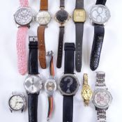 Various wristwatches, including Eterna-Matic 3000, gold-filled Waltham wristwatch, Guess etc (12)
