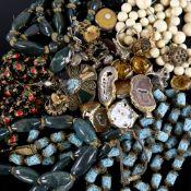 Various jewellery, including amber earrings, geode slice pendants, bloodstone bead necklace, cross