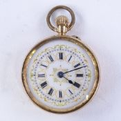 An early 20th century Swiss 14ct rose gold open-face top-wind fob watch, white enamel dial with