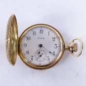 ELGIN - an early 20th century American 14ct gold full hunter side-wind fob watch, white enamel