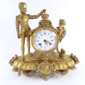 A 19th century French gilt-bronze 8-day figural mantel clock, surmounted by a Prince with a crown,