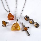 Various Baltic amber jewellery, including brooch, pendant necklace, ring etc, ring size N, 27.8g