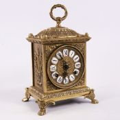An early 20th century West German brass striking bracket clock, by Franz Hermle, white enamel hour