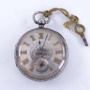 A late 19th century silver-cased open-face key-wind pocket watch, by John Forrest of London,