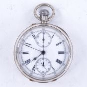 A late 19th century Swiss silver-cased open-face top-wind chronometer pocket watch, white enamel