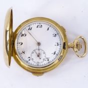 An early 20th century Swiss 18ct gold full hunter repeater chronograph pocket watch, by Volta, white
