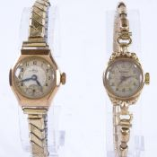 RENOWN - a lady's Vintage 9ct gold mechanical wristwatch, silvered dial with gilt eighthly Arabic