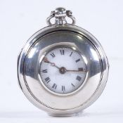 An early 19th century silver pair-cased half hunter key-wind Verge pocket watch, by T B Fecit of
