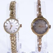 2 lady's Vintage 9ct gold mechanical wristwatches, including Rotary, 1 on 9ct expanding strap,
