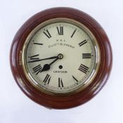 A mahogany circular dial wall clock, by MRC Cillett, Bland & Co of Croydon, cream dial with Roman