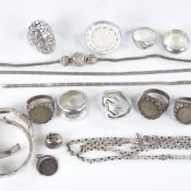 Various silver jewellery, including rings, necklaces, fobs etc, 78.9g gross Lot sold as seen