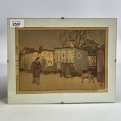 "Toshi Yoshida, colour woodblock print, supper wagon, signed in pencil, image 6.5"" x 9.5"", clip frame"
