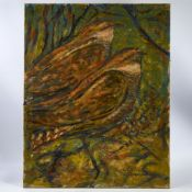 "Aubrey Williams, oil on canvas, nightjars, signed and dated '69, 30"" x 24"", unframed Good condition,"