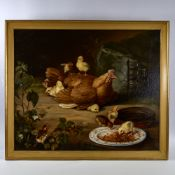 "Oil on canvas, hen and chicks in the farmyard, late 19th/early 20th century, unsigned, 25"" x 30"","