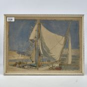 "M McCrossan, watercolour, yachts in harbour, 1929, 11"" x 14"", framed Slight paper discolouration, no"