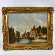 "J H de Berg, oil on panel, Dutch canal scene, signed, 16"" x 20"", framed Good condition"