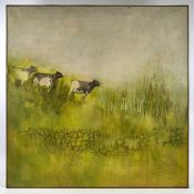 "Linda Mallett, oil on canvas, cattle, 1974, 36"" x 36"", framed Good condition, would benefit from a"