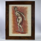 "Coloured pastels, female nude, unsigned, circa 1960s, 27"" x 19"", framed Good condition"