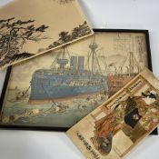 "Ogata Gekko, woodblock print, captured Chinese warship, 14"" x 18"", and a small group of other"