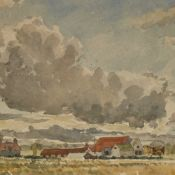 "Mid-20th century watercolour, extensive farm landscape, unsigned, 14"" x 21"", framed Slight paper"