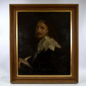 "19th century oil on canvas, after Van Dyck, half length portrait of a gentleman, unsigned, 29"" x"