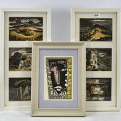"John Piper, 6 lithographs, scenes in Wales, 4.5"" x 6.5"" each, mounted in 2 frames, and abstract head"