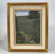 Christopher Miers (born 1941), oil on board, rhododendrons Nepal, signed, with Exhibition label
