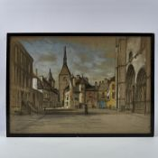 "19th century charcoal and pastel drawing, Continental street scene, indistinct monogram, 14"" x"