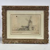 "Attributed to John Sell Cotman (1782 - 1842), pencil drawing, old windmill, 7.5"" x 11"","