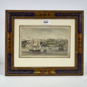 "Early 19th century watercolour, busy harbour scene in Brazil, unsigned, image 5"" x 8.5"", framed"