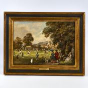 "Frank Moss Bennett (1874 - 1953), oil on board, Cricket In 1790, signed and dated 1948, 9.5"" x 13."