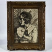 "Early 20th century charcoal on paper, portrait of a young woman, unsigned, 14"" x 10"", framed Good"